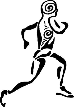 Illustration of a running man with a spiral ornament. Healthy running.