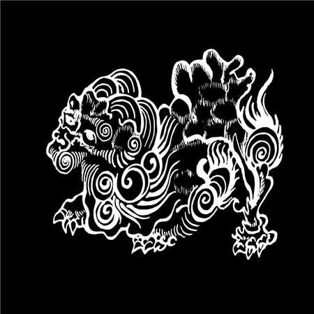 Illustration of chinese qilin. Chinese unicorn lion dragon.