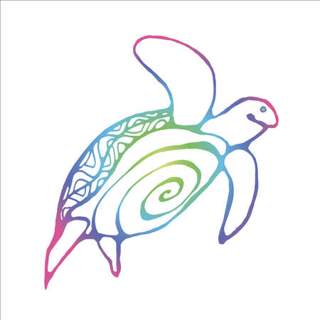 Color neon illustration of a wise tortoise. Swimming turtle in motion with ornament.