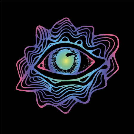Color neon drawing of the eye, inscribed in a circle of pattern and mountains. Good idea for a tattoo. Illustration