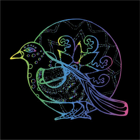 Color neon illustration of a bird in profile with background from an ornamental mandala. Saturn planet on the wing.