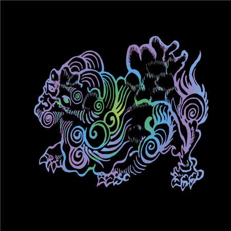 Color neon illustration of chinese qilin. Chinese unicorn lion dragon. Illustration