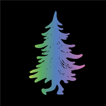 Gradient illustration of a walking Christmas tree with legs. New Year's fairy tale. Illustration
