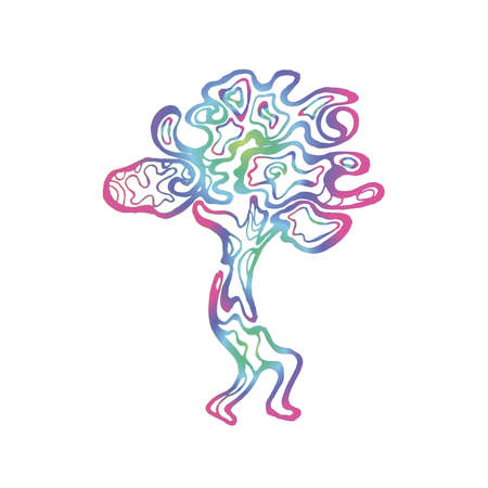 Gradient illustration of a running tree with a spiral ornament. The roots of the feet.