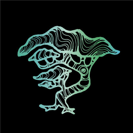 Neon green illustration of a running tree with a spiral ornament. The roots of the feet.