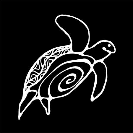 Illustration of a wise tortoise. Swimming turtle in motion with ornament. Chalk on a blackboard. Illustration