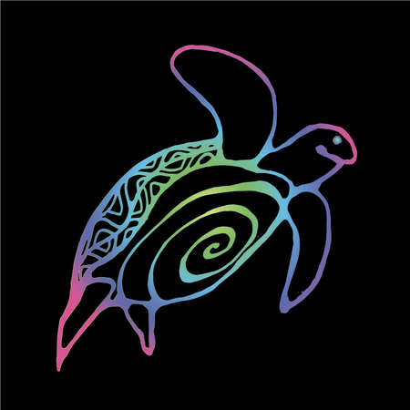 Color gradient illustration of a wise tortoise. Swimming turtle in motion with ornament.