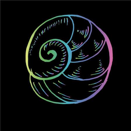 Gradient neon sea animal drawing. Ancient marine spiral. Tattoo idea.