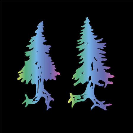 Color neon illustration of a running tree with a spiral ornament. The roots of the feet. Illustration