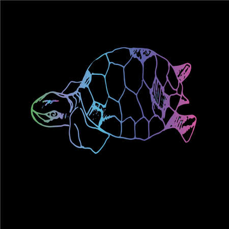 Color neon illustration of a wise tortoise. Swimming turtle in motion with ornament. Standard-Bild - 151466019