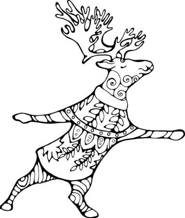 Elk with horns in inspired yoga dancing pose in a floral sweater.