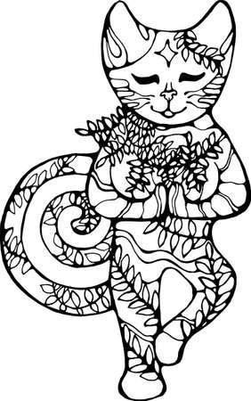 The cat stands on one leg in a plant ornament. Meditative consciousness. Illustration