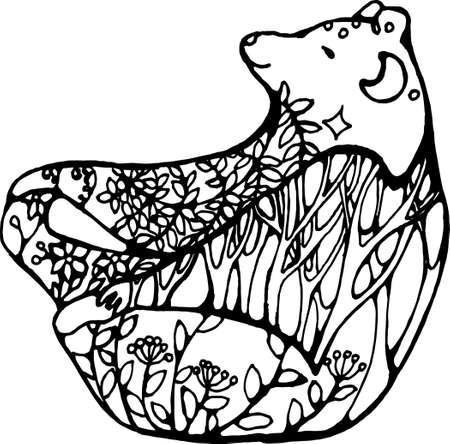 Bear in yoga pose with floral ornaments. Illustration