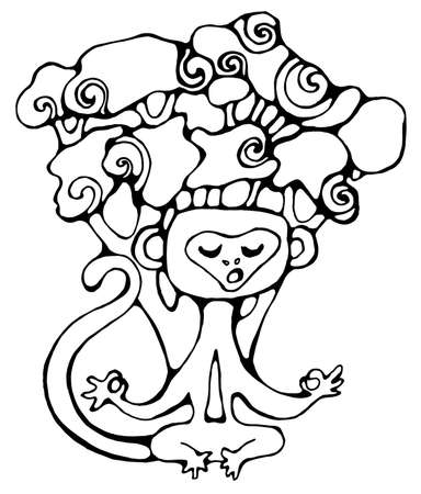 Cute monkey sitting under a tree in a meditative pose