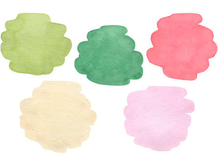 Watercolor stains set isolated on white background. New Year watercolour palette.