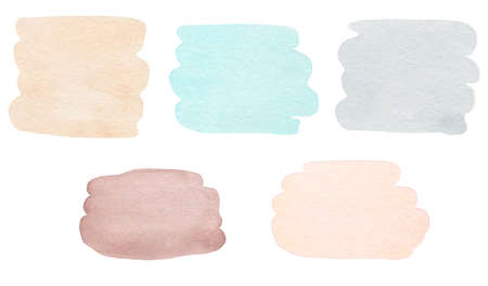 Watercolor stains set isolated on white background.Winter watercolour palette.