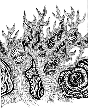 the thick forest: Fairy magic fabulous trees in forest with trees pattern black and white Illustration