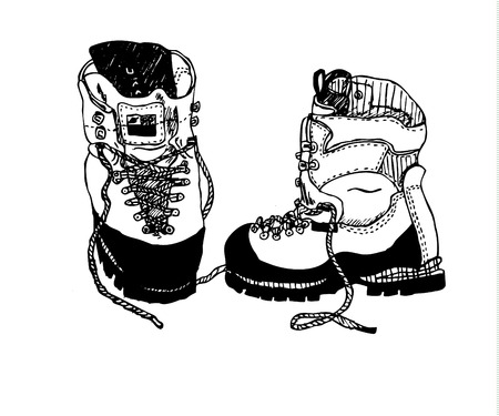rambling: Alpine hiking boots drawing isolated on white background vector