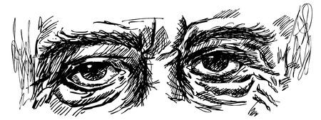 hombre viejo: ojos del hombre viejo con aislado arrugas dibujo blanco y negro del vector