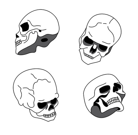 mortalidad: skull in different positions drawing black isolated on white background vector Vectores