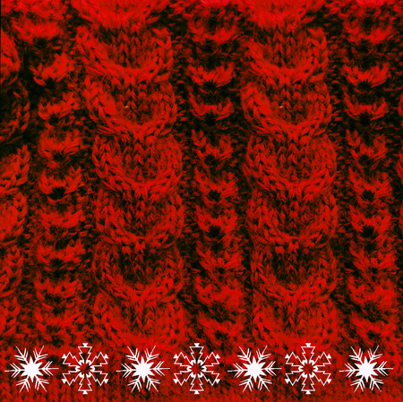 cable stitch: Knitted woolen texture braids red with snow crystal