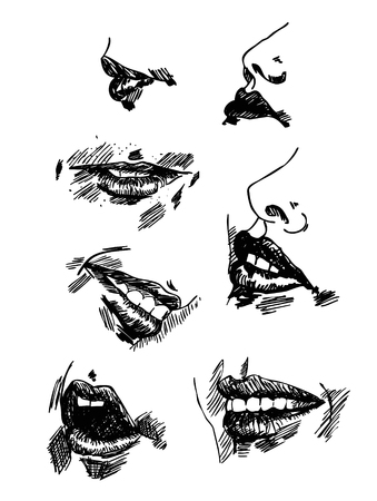 fantasize: Set pencil drawing lips. Realistic sketch vector Illustration