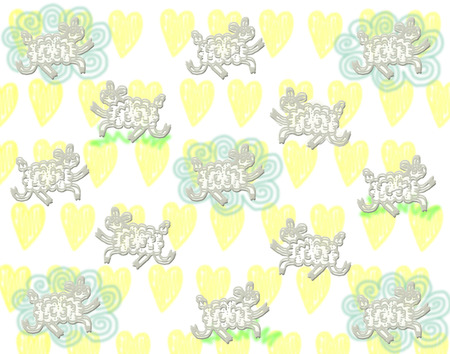 sheeps: cute gray sheeps pattern with cloud and grass on yellow hearts background