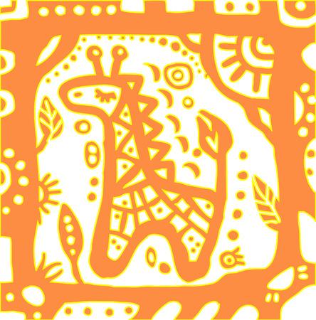 giraffe frame: baby giraffe in cute frame on white background Illustration