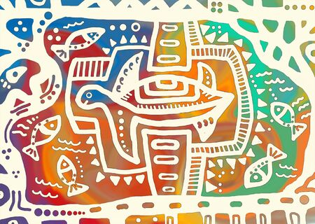 character abstract: Decorative turtle. animal decoration and abstract floral ornament, cute style on multicolored background Stock Photo