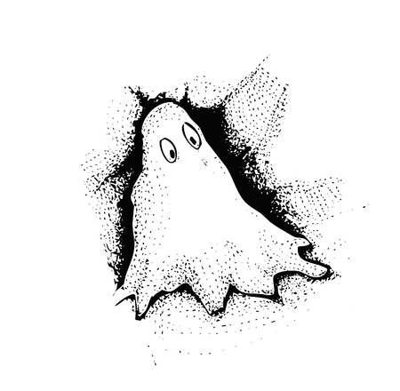 cute ghost: black and white drawing of cute ghost. Vector illustration. isolated.