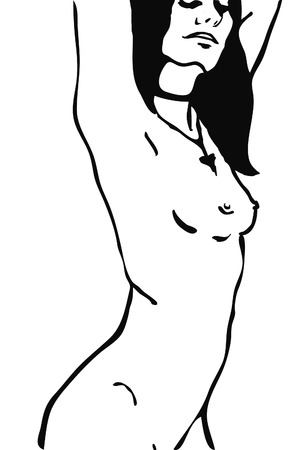 naked woman: Sketch of naked woman torso vector outline