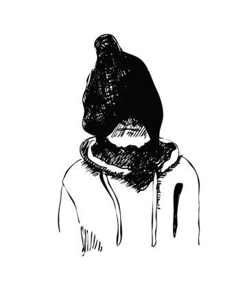 hand drawn sketch of kid  in winter hat vector