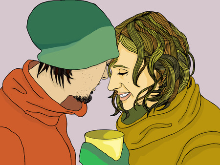 laughing face: romantic couple in winter clothes ith cup portrait