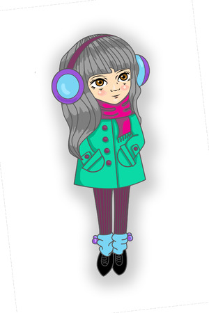 gaiters: girl with long gray hair in a coat and scarf and gaiters with headphones earmuffs isolated