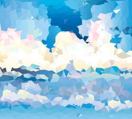 elemental: illustration of abstract background for design. The clouds in the sky. Sky of polygonal mosaic. Polygonal Mosaic. Triangular low poly style. Template for poster. Illustration