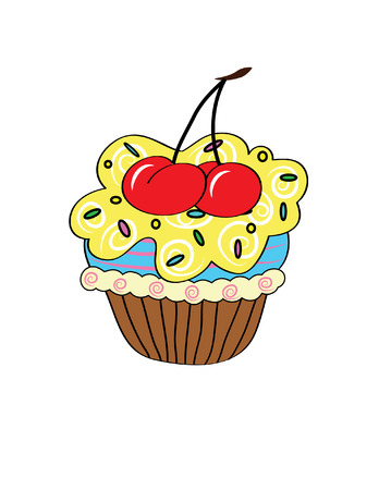 elaborate: Cartoon cupcake. Vector clip art illustration with simple gradients. elements on three separate layers. Illustration