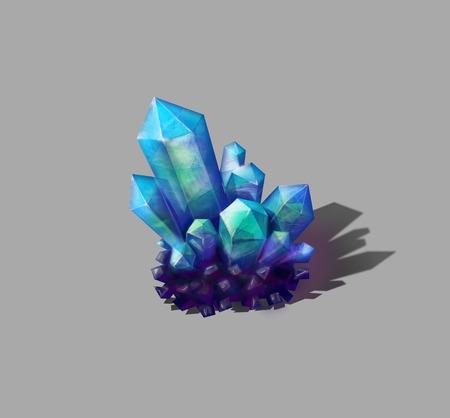 crystal background: Shiny realistic blue crystal on gray background Stock Photo