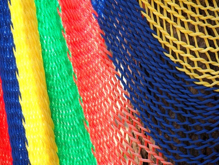 Colorful of hammock made from nylon hanging