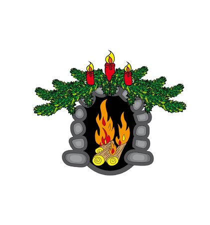 christmas fireplace: Christmas fireplace with fir branches and candles