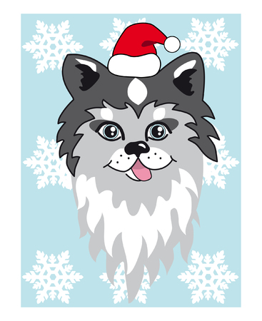 indium: Vector illustration Christmas husky. Use for posters, postcards, new year design. vector Illustration