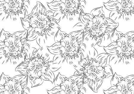 jonquil: Flower. Hand drawn sketch tutsan, hypericum, narcissus cherry flowers illustration