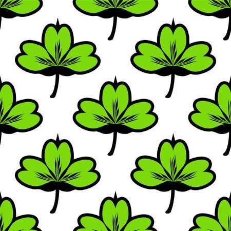 Clover leaf seamless vector pattern. Good for textile fabric design, wrapping paper and website wallpapers. Vector illustration. Illustration