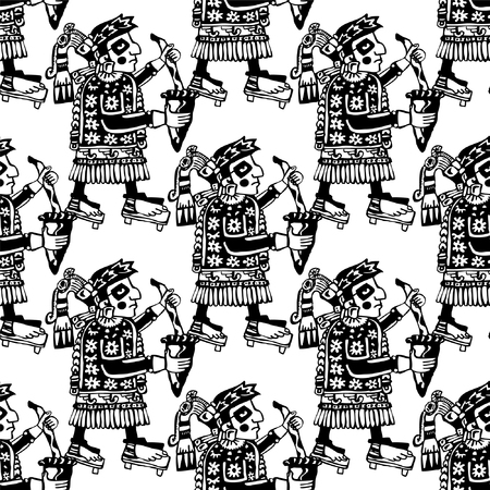 Seamless Mayan And Aztec Totems Pattern With Symbols Of Shamans