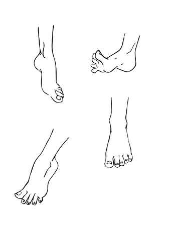 locomotion: A set of 4 different cartoon feet in various poses. Illustration