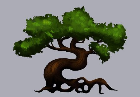 Big tree with green crown and curve trunk Stock Photo