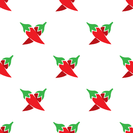 capsaicin: Classic red chili peppers seamless pattern. isolated on white background.