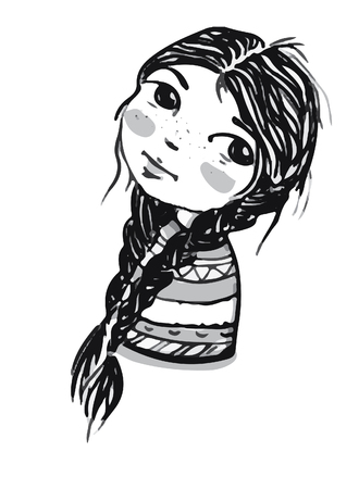 drawing portrait of a beautiful young girl with two braided pigtails