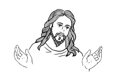 Grafisch gezicht van Jezus. Vrede van Jezus. Open handen