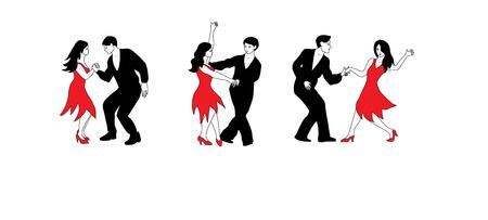 Conjunto de danza - ilustración de bailarines en negro y rojo.