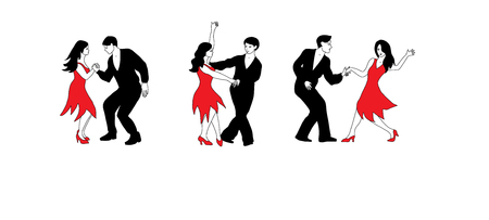 Dance Set - illustration of dancers in black and red. Stock Illustratie
